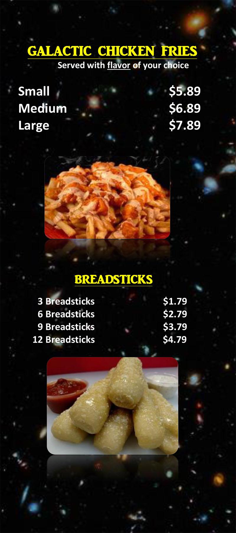 Stellar Wings menu - galactic chicken fries, breadsticks