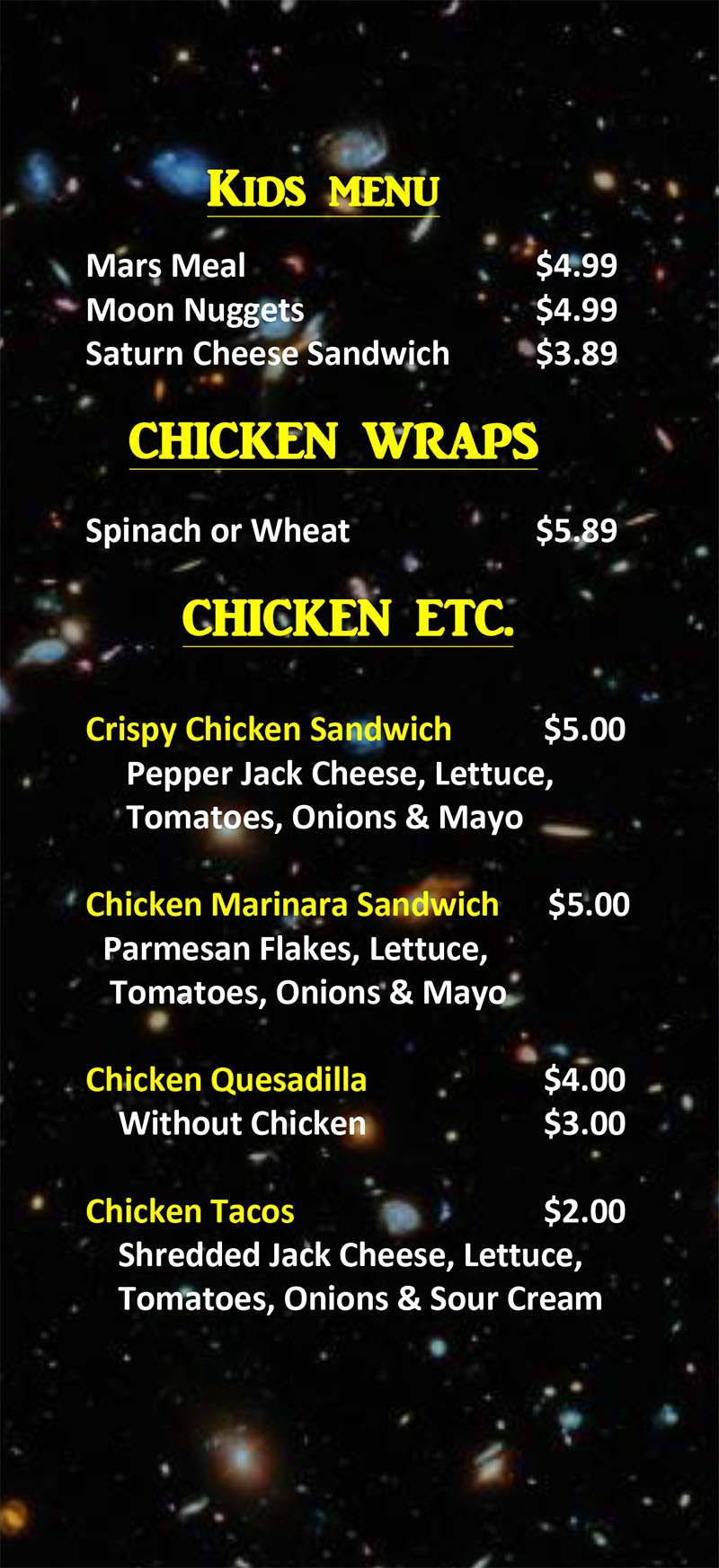 Stellar Wings menu - kids, wraps, chicken