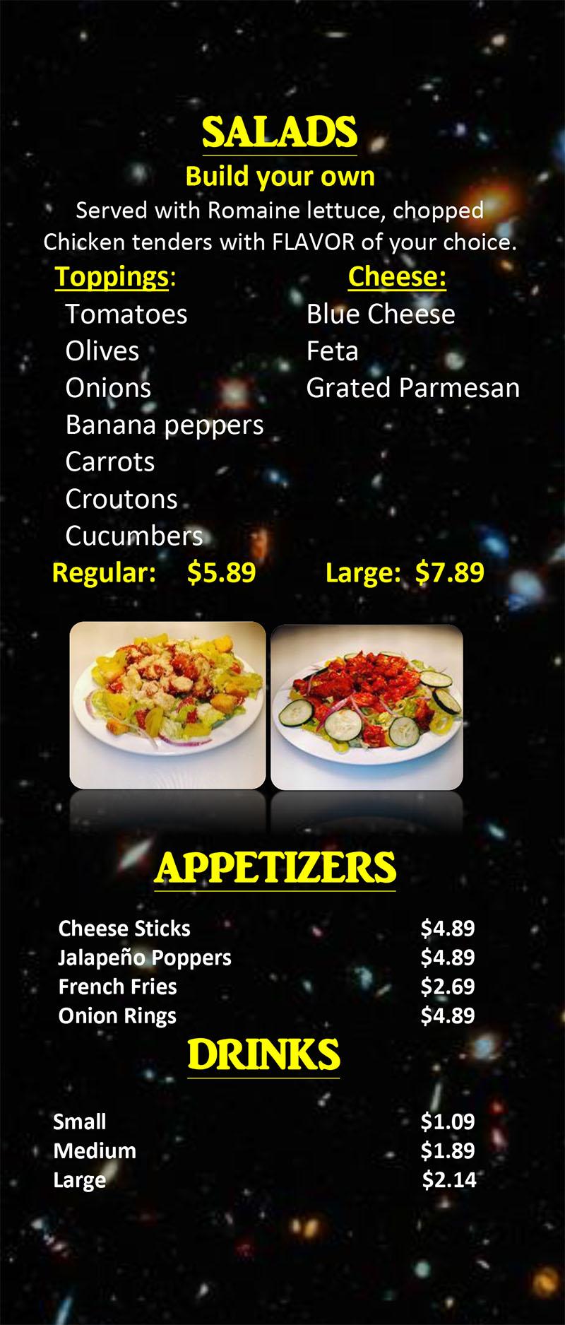 Stellar Wings menu - salads, appetizers, drinks
