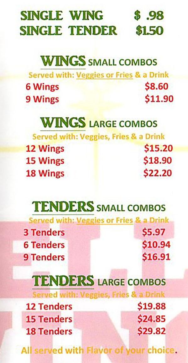 Stellar Wings menu - wings, tenders