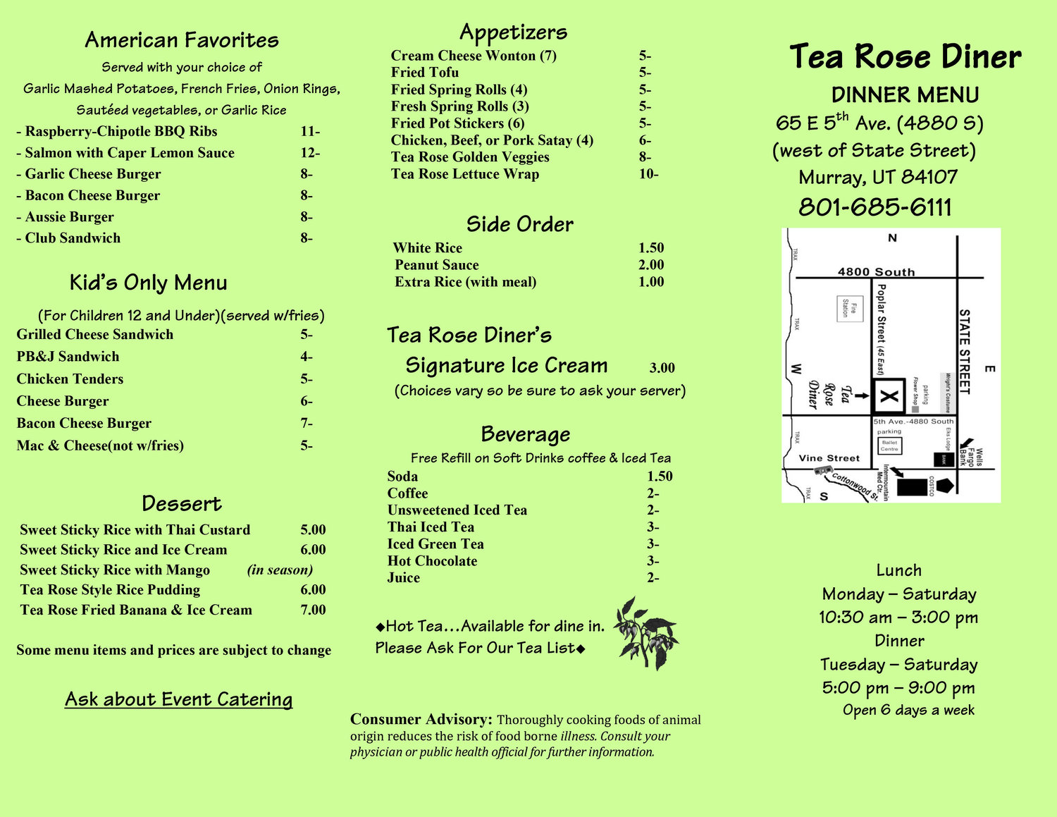 Tea Rose Diner menu 2