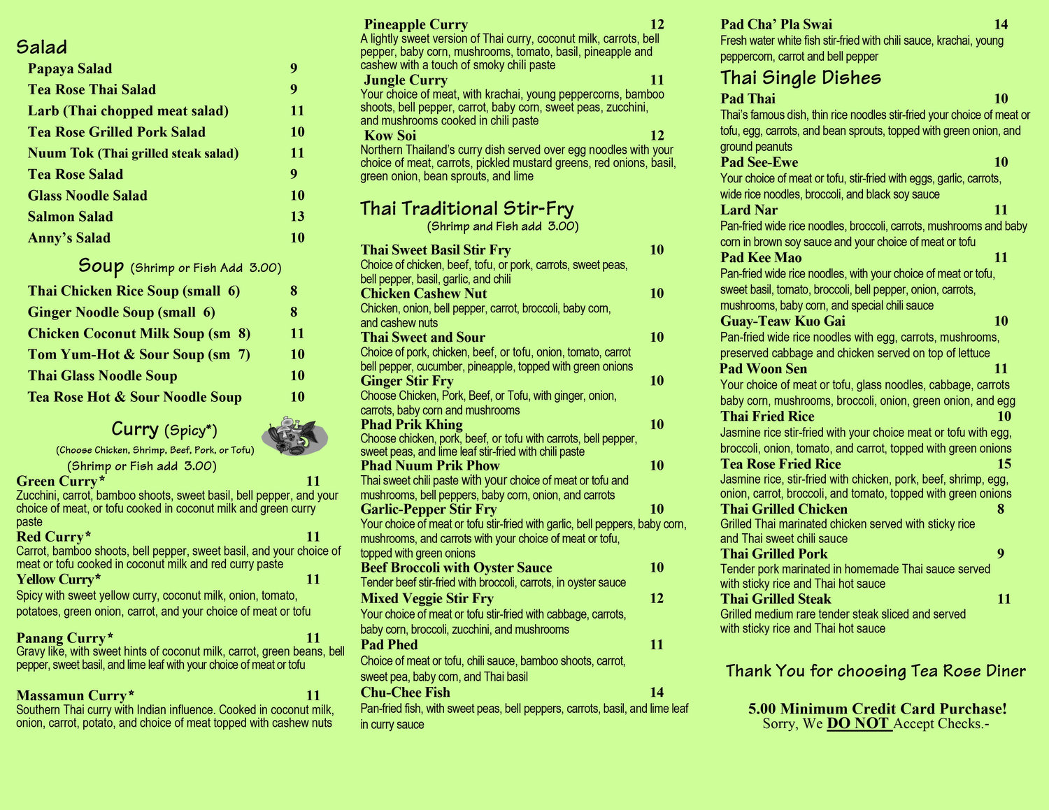 Tea Rose Diner menu