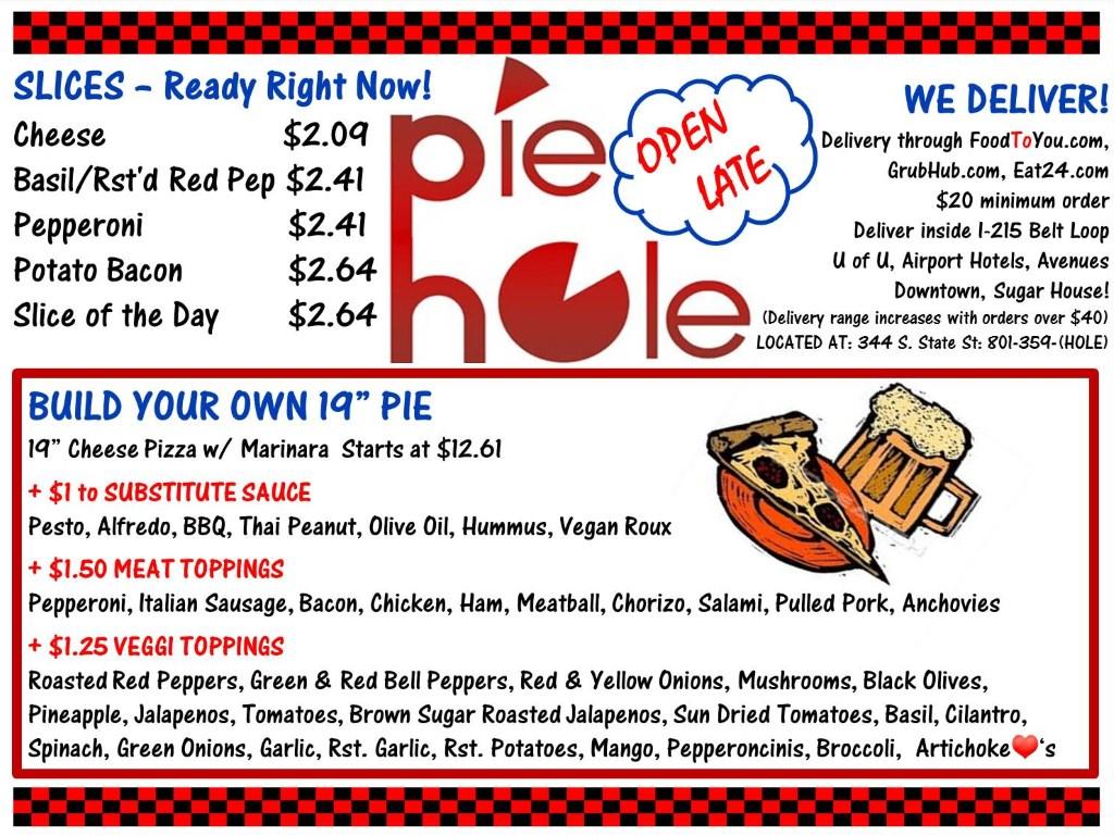 The Pie Hole menu
