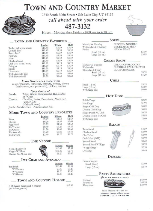 Town And Country Market menu