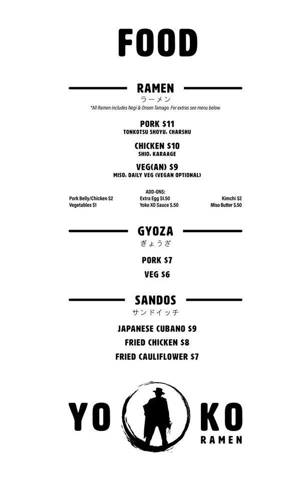 Yoko Ramen menu - ramen, gyoza, sandos