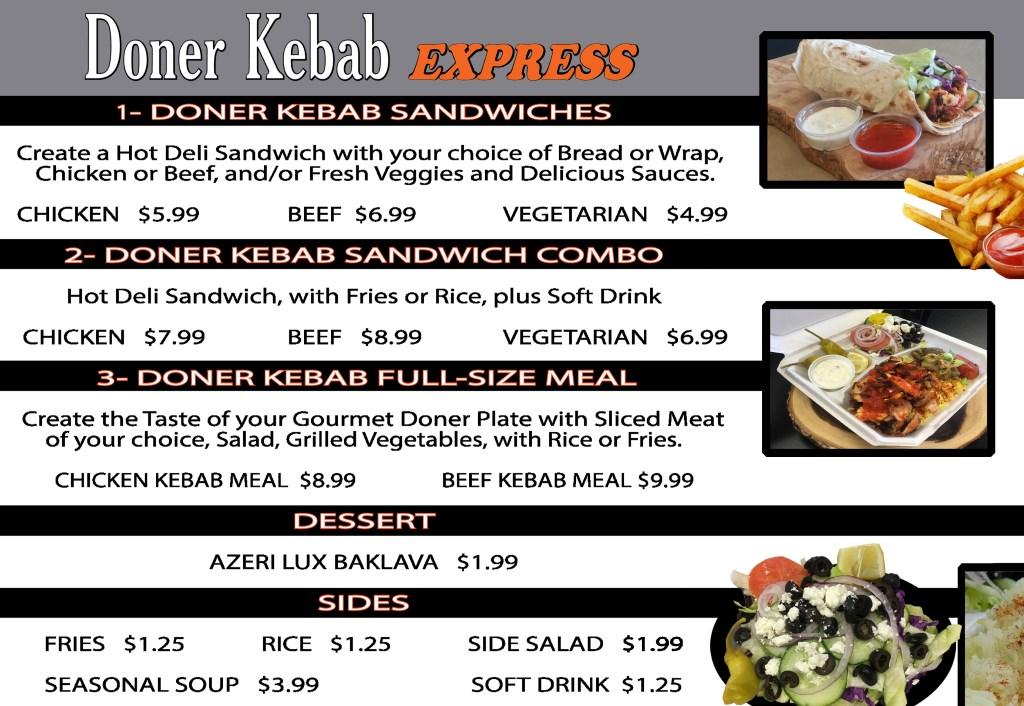 doner kebab express menu