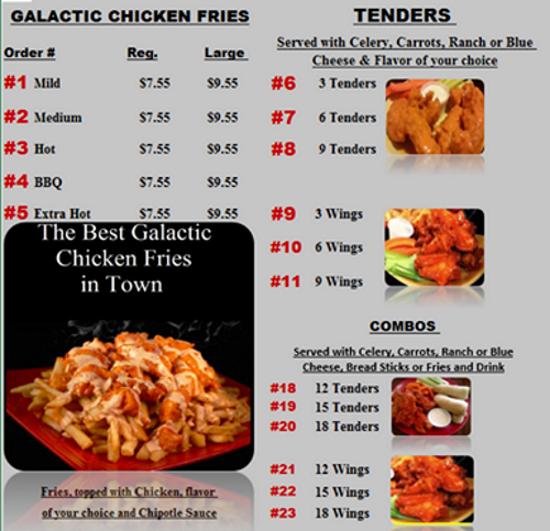 stellar wings restaurant menu