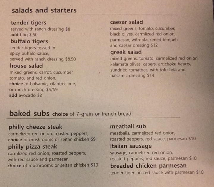 vertical pizza menu salads starters and subs