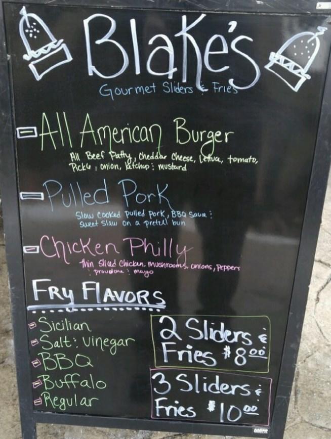 Blakes Gourmet Sliders food truck menu