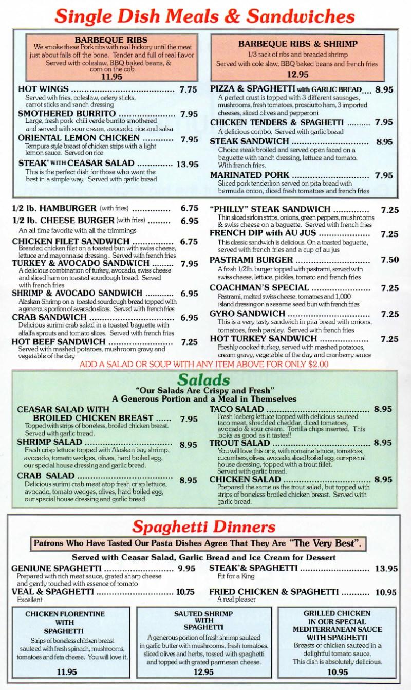Coachmans Dinner And Pancake House menu - sandwiches, salads, spaghetti