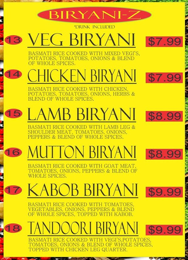 Curry Corner Cafe menu - biryani