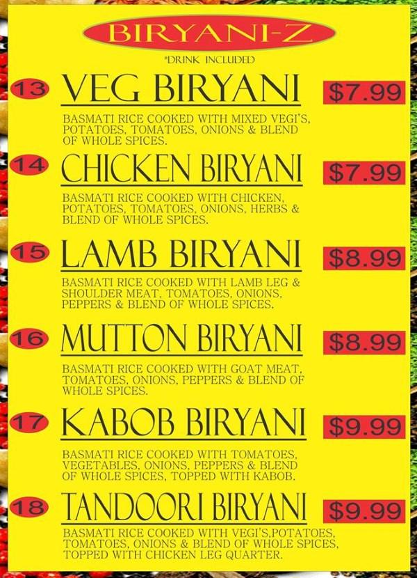 Curry Corner Cafe menu - biryani
