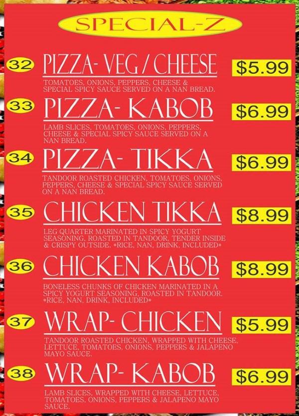Curry Corner Cafe menu - specials