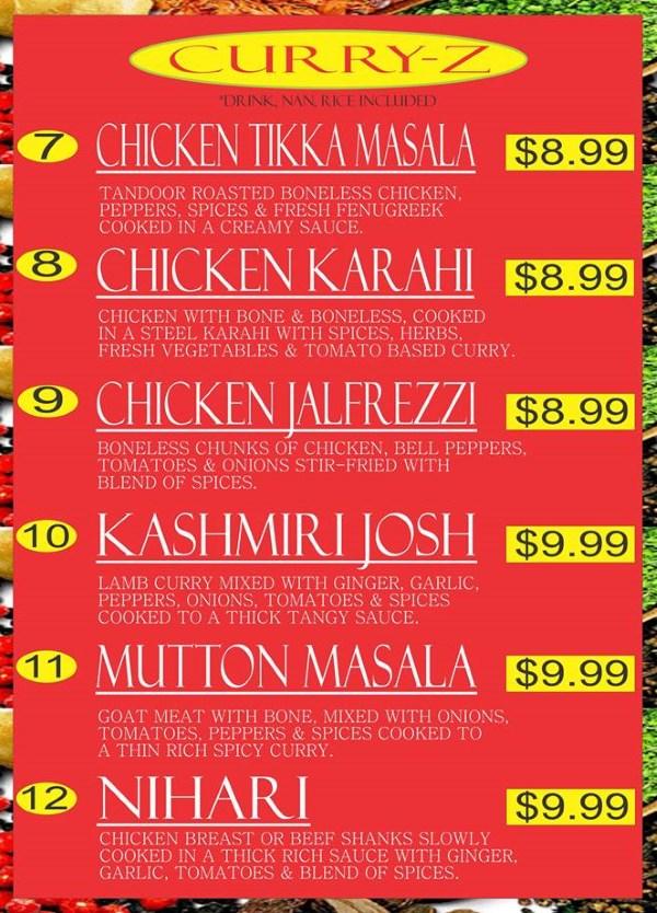 Curry Corner Cafe menu - curry