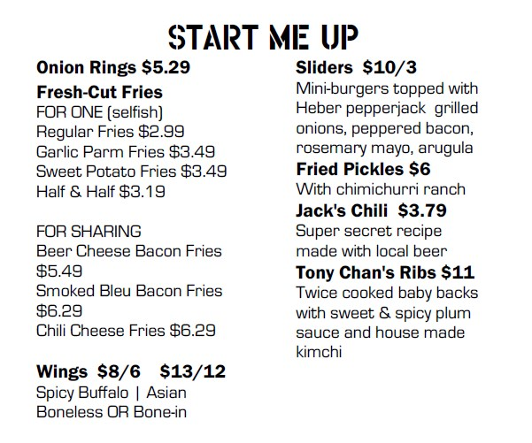 Fat Jack's menu - appetizers