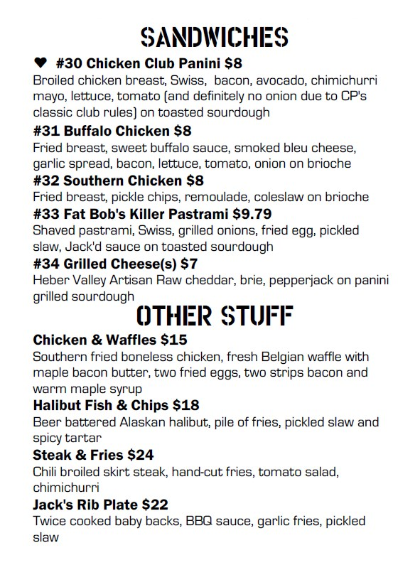 Fat Jack's menu - sandwiches and other stuff