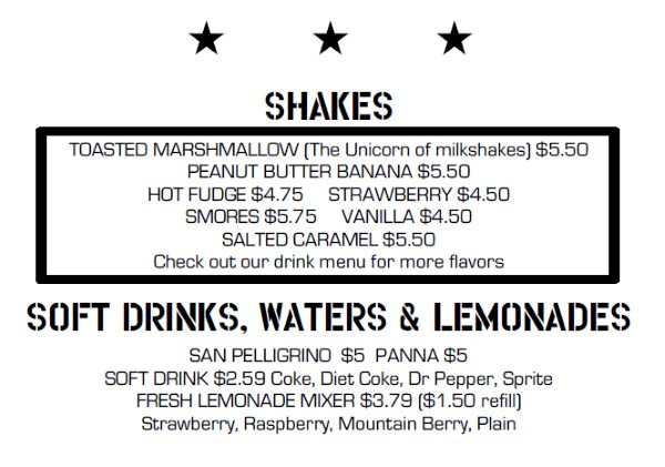 Fat Jack's menu - shakes and drinks