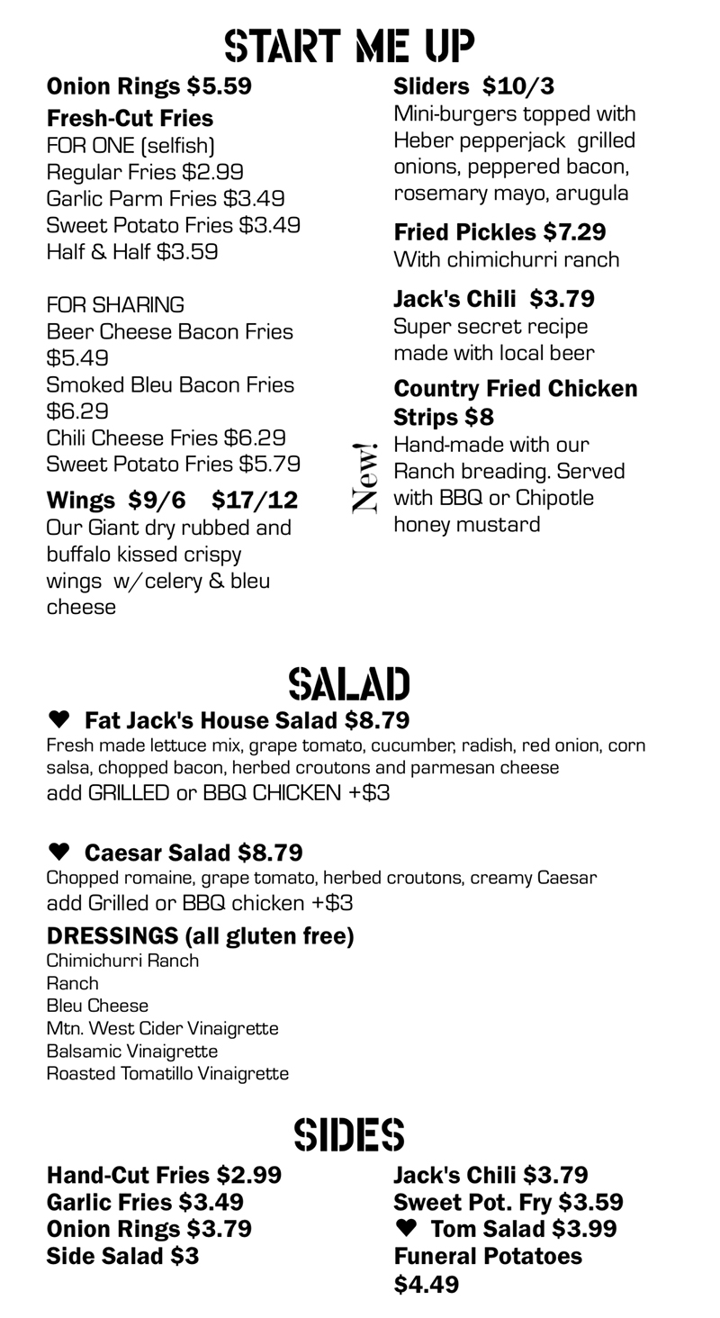 Fat Jack's menu - start me up, salad, sides