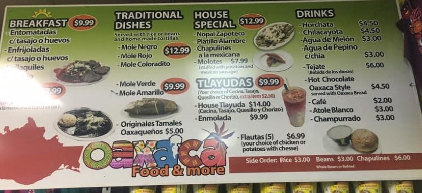 La Oaxaqueña menu