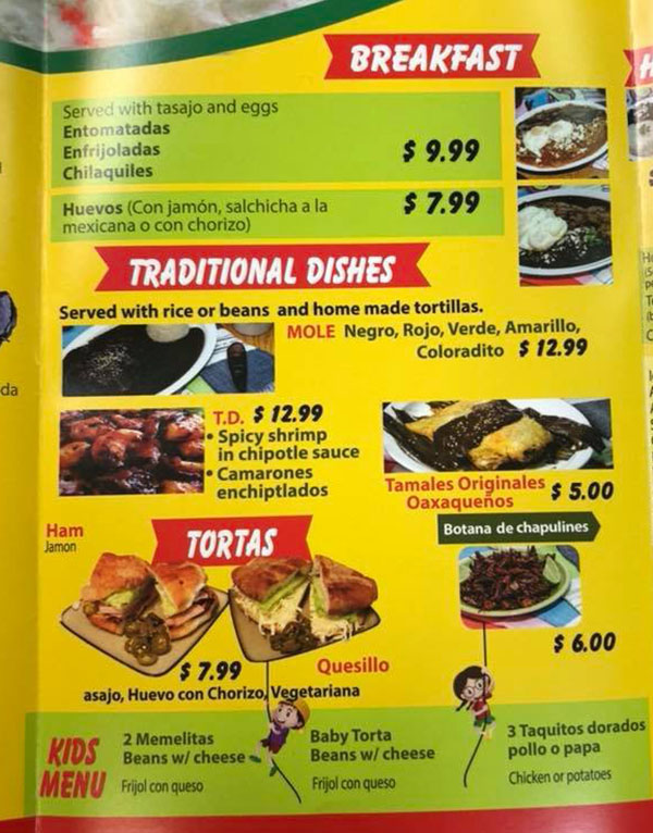La Oaxaquena Restaurant menu - breakfast, tortas, traditional