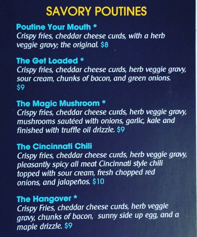 Poutine Your Mouth menu