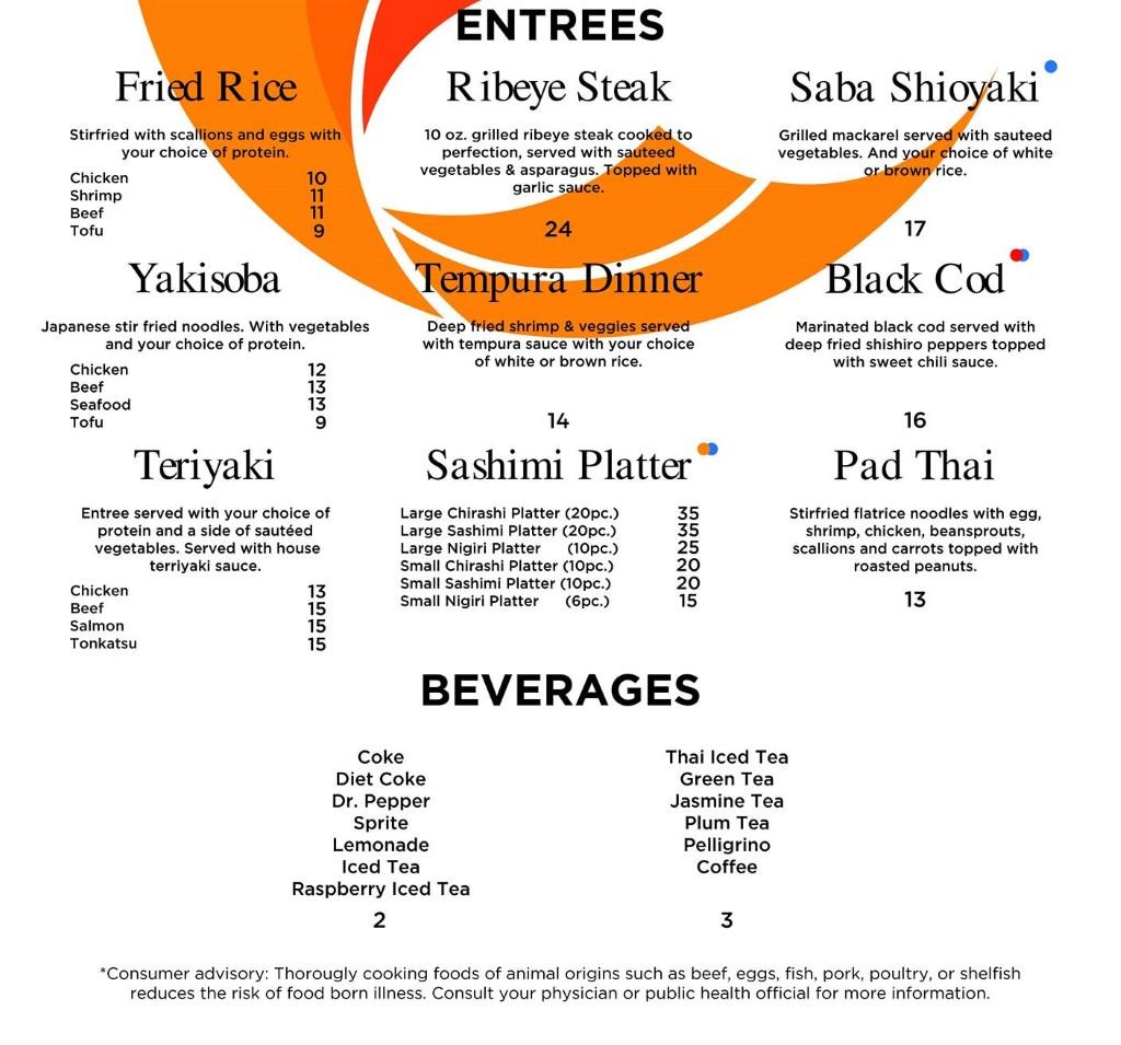 Soy's Sushi Bar And Grill menu - entrees