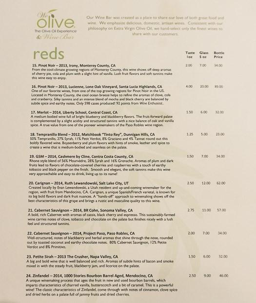 We Olive Salt Lake City menu - red wine