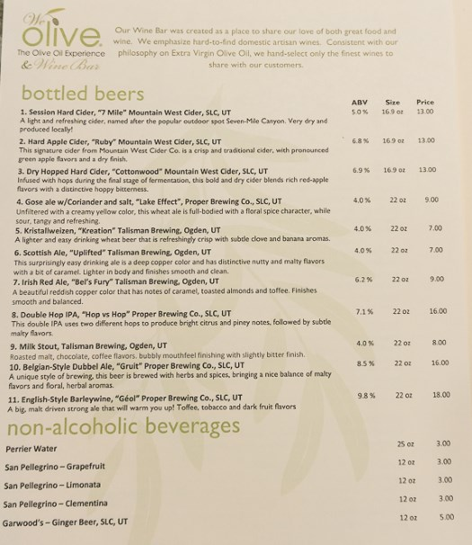 We Olive Salt Lake City menu - beers
