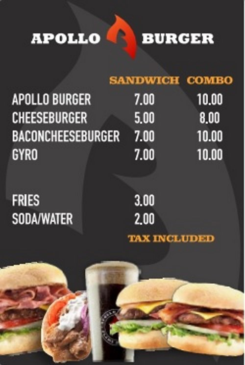 Apollo Burger food truck menu