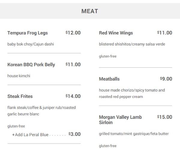 Meditrina menu - meat