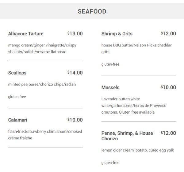 Meditrina menu - seafood