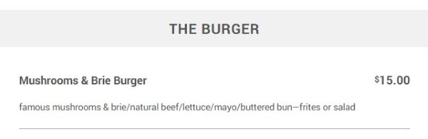 Meditrina menu - the burger