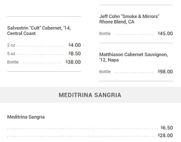 Meditrina - wine menu more reds and sangria