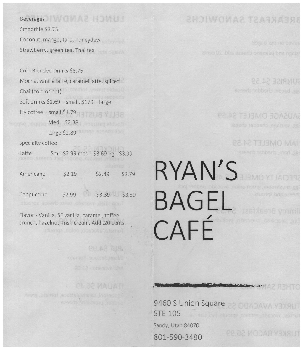 Ryan's Bagel Cafe menu - beverages