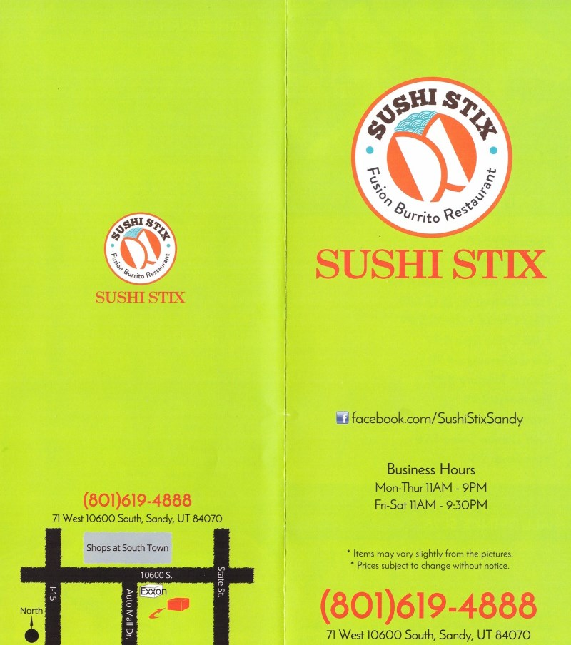 Sushi Stix menu - front and back pages of take out menu