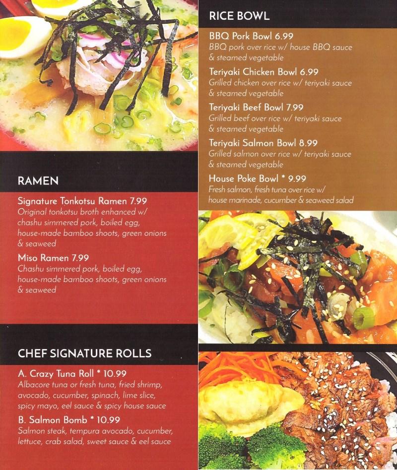 Sushi Stix menu - ramen, rolls, rice bowl