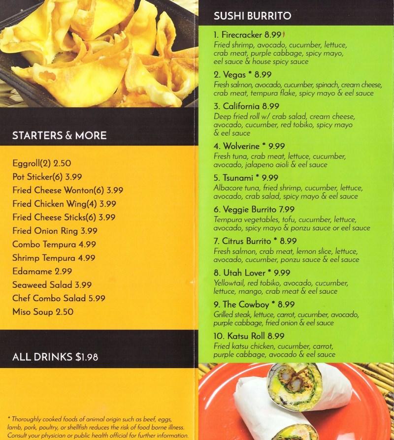Sushi Stix menu - starters, sushi burrito