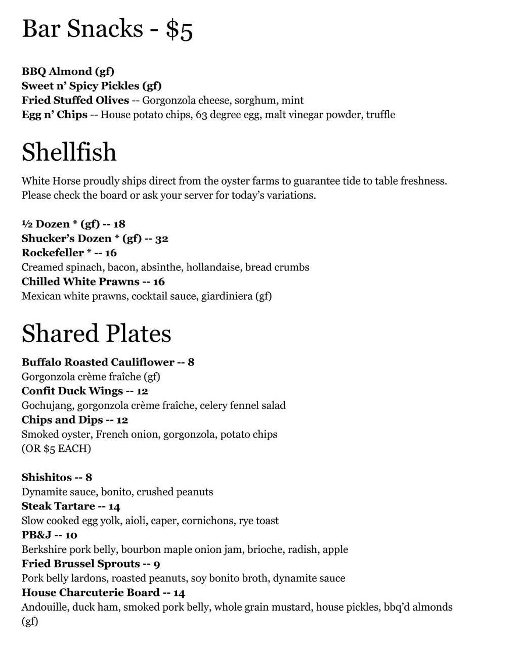 White Horse Spirits and Kitchen menu - bar snacks, shellfish, shared plates