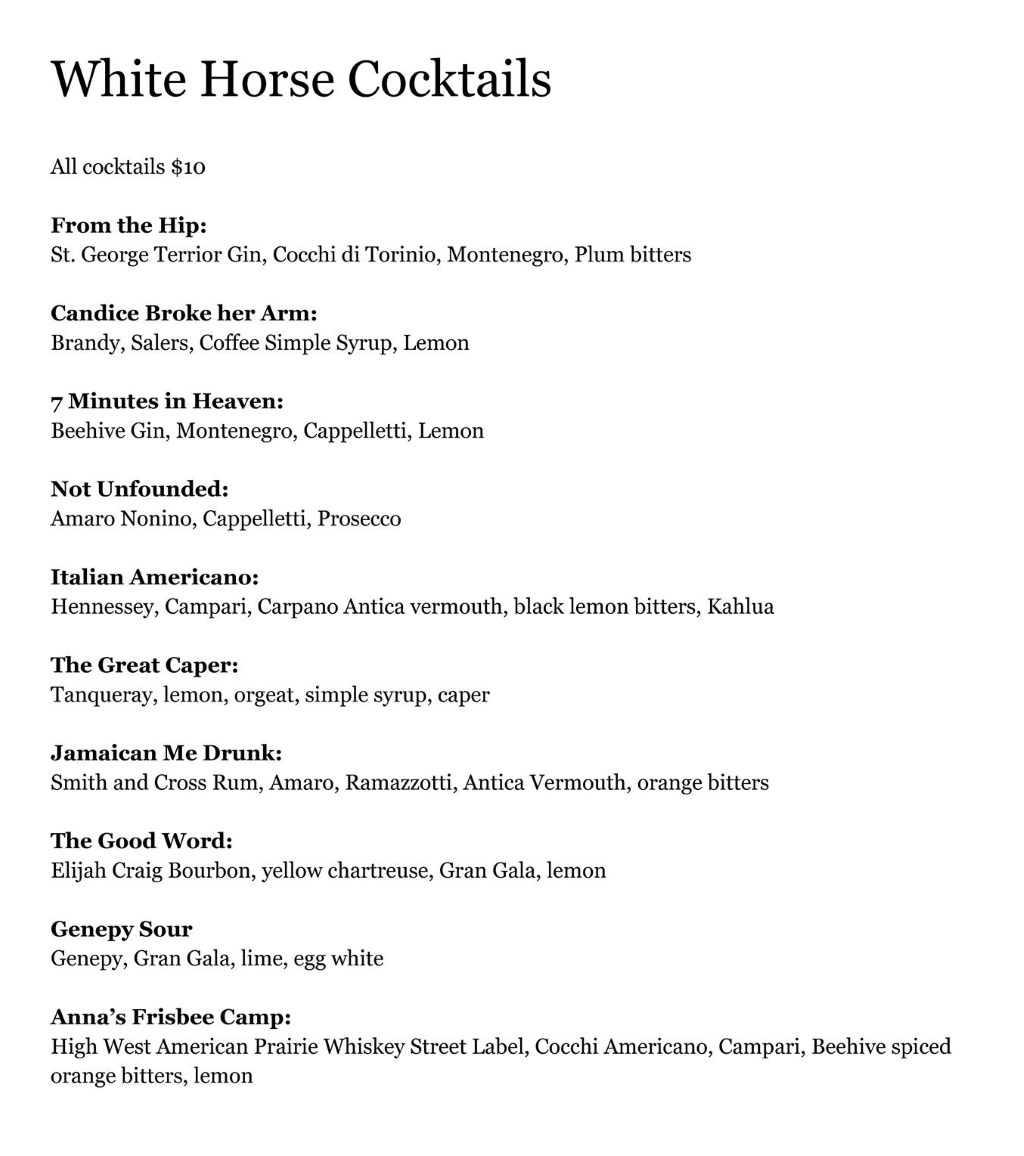 White Horse Spirits and Kitchen menu - cocktails