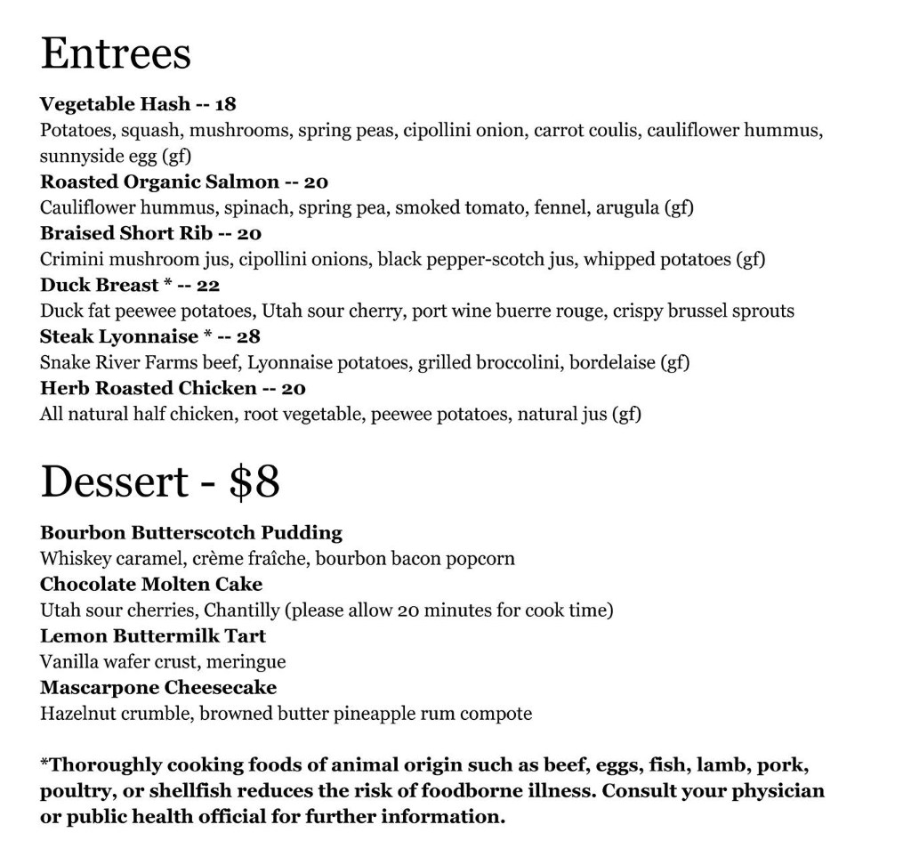White Horse Spirits and Kitchen menu - entrees, dessert