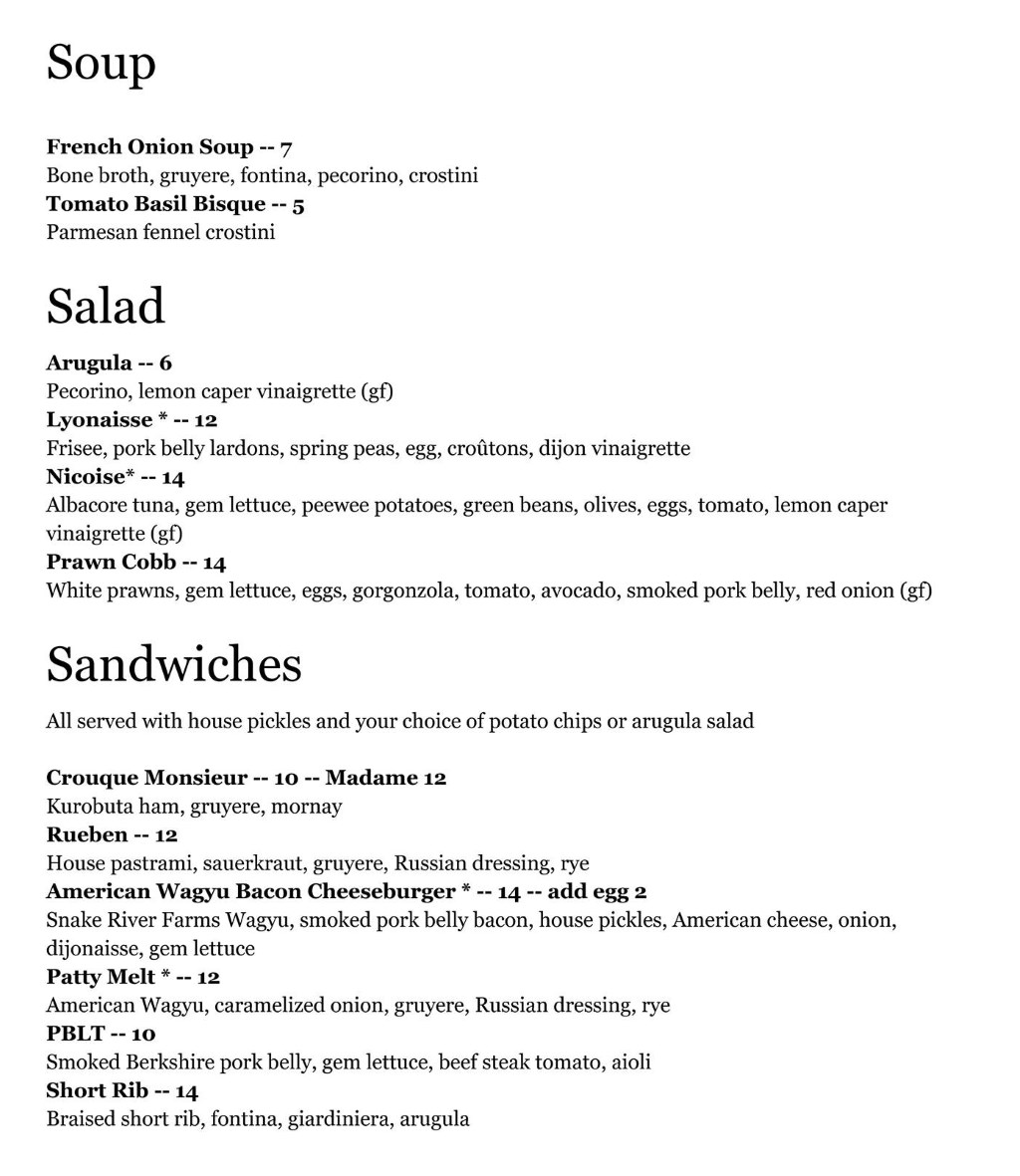 White Horse Spirits and Kitchen menu - soup, salad, sandwiches