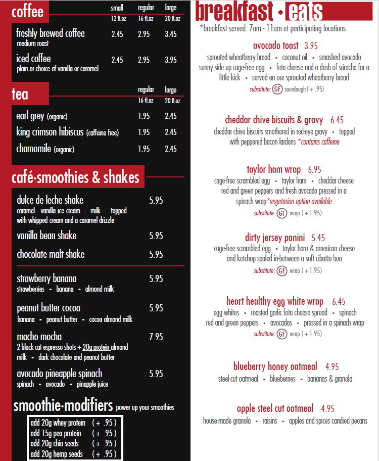 Around Eatery menu - breakfast eats