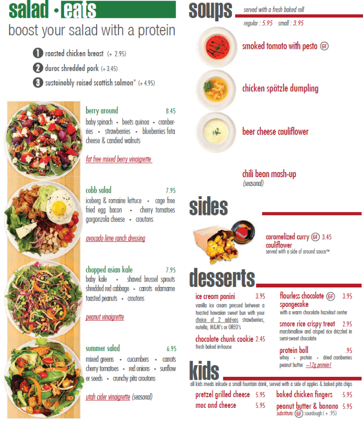 Around Eatery menu - salad eats, soups, sides, desserts, kids