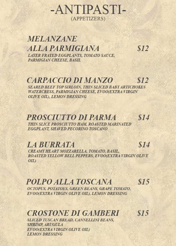 Celeste Ristorante menu - appetizers