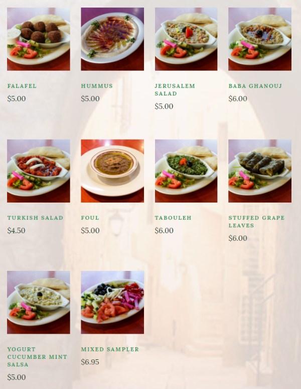 O Falafel menu - appetizers