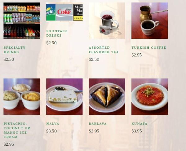 O Falafel menu - desserts and beverages