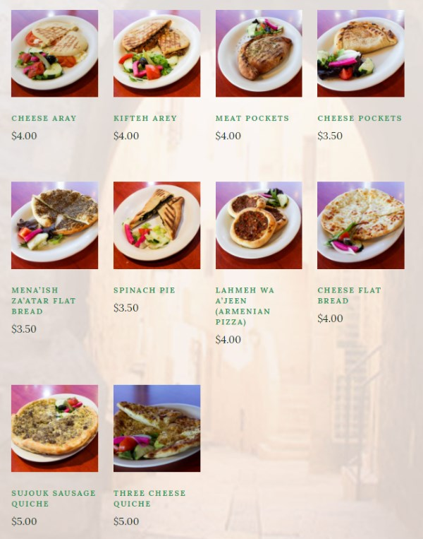 O Falafel menu - pita quiches, flat bread, moajenaat and arrayess