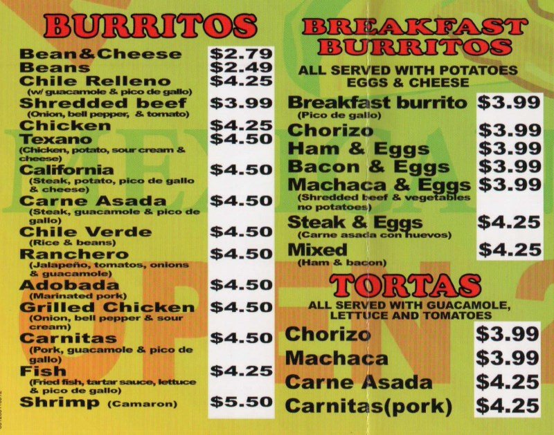 Rancherito's Mexicna Food  menu - burritos and tortas