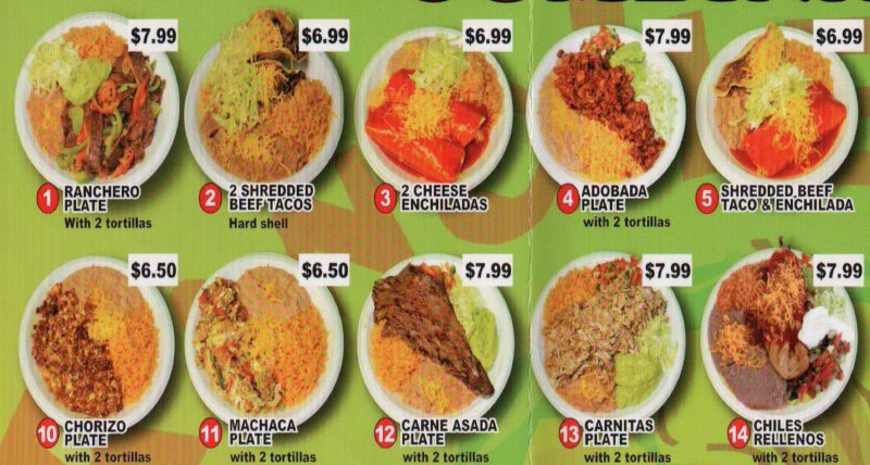 Rancherito's Mexican Food  menu - combinations