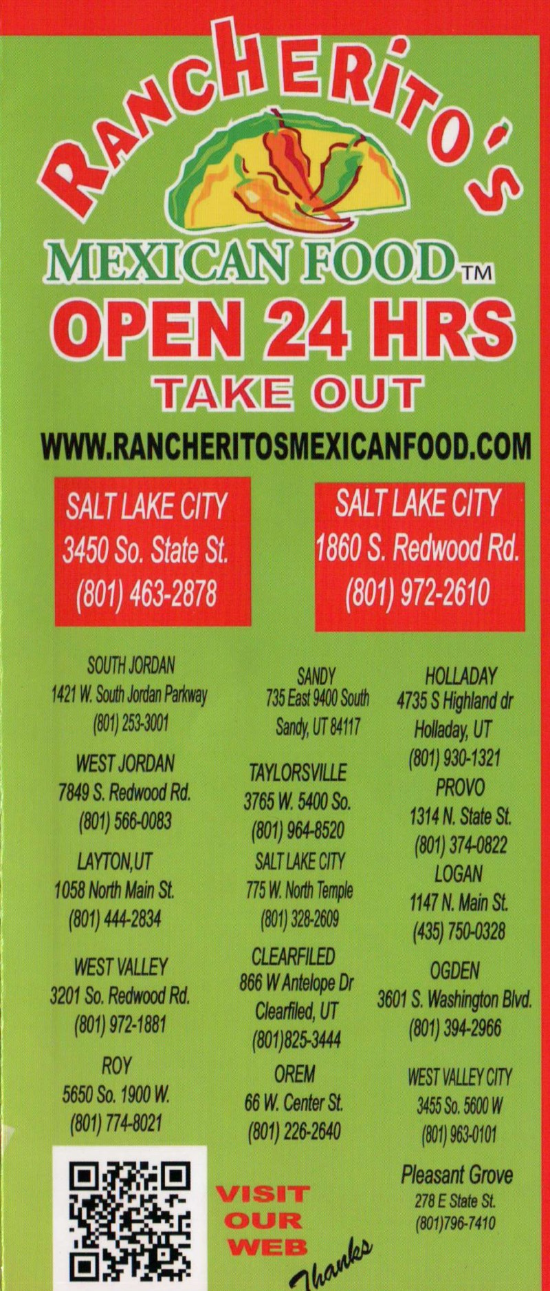 Rancherito's Mexican Food - locations
